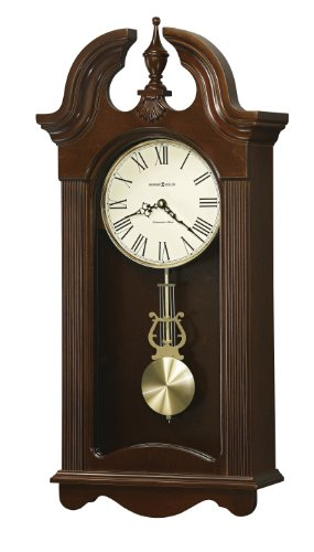 Howard Miller Malia Wall Clock with Westminster Chime, Cherry Finish, Quartz (Plain Cherry Column)