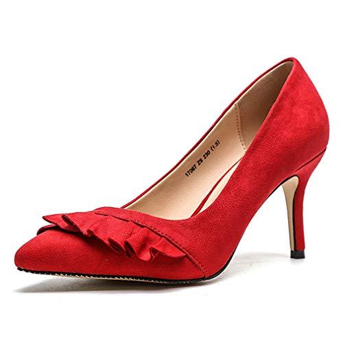 Korkokengät Cybling Alkuun Naisten Teräväkärkiset Luistaa Kengät Muotitietoinen Punainen Pumput Alhainen Stiletto Seksikäs Toimistoalan XxXzq
