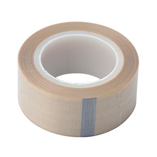 """1"""" Width x 11 Yard Roll PTFE Coated Fiberglass High Temperature Tape with Silicone Adhesive Cloth, Release Surface on Heat sealers, Vacuum Machine Sealing Tape with Adhesive"""