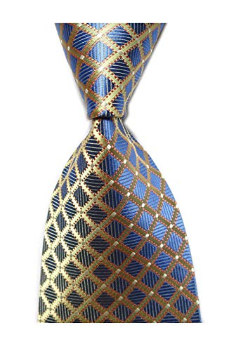 (Secdtie Men's Classic Checks Light Blue White Jacquard Woven Silk Tie Necktie YUE14 (One Size, Blue&Light Yellow))