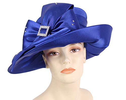 Ms Divine Women's Satin Year Round Church Hats Dress Formal Hats #HL33 (Royal)