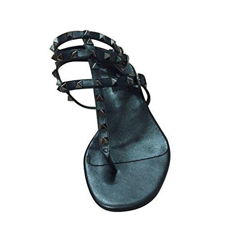 Black Pan Flat Studded Kaitlyn T All Strap Sandal 0BwAwFRPq