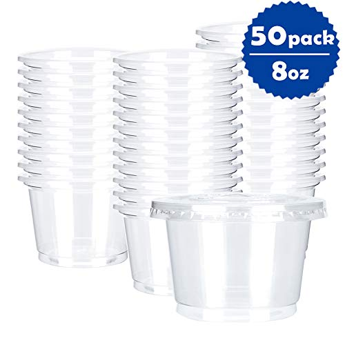 OTOR 8oz Hot/Cold Disposable Plastic Cups with Flat Lids - 50 Sets - Ice Cream Cups, Snack bowl, Take Away Food Container for Dessert Fast food Soup (Container Sauce Away Take)