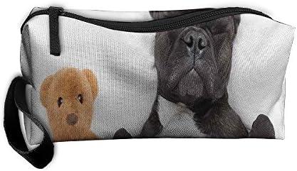 Francés Bulldog dormir con oso de peluche con cremallera Estuche, maquillaje bolsa, organizador soporte 3d impreso bolsa de aseo de viaje: Amazon.es: Hogar
