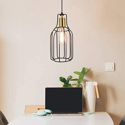 Ganeed Swag Lights Plug in Pendant Light,Industrial Vintage Metal Cage Hanging Lamps,Edison Plug in Pendant Light Fixture with On Off Switch Wire for Kitchen Island Dining Room Living Room