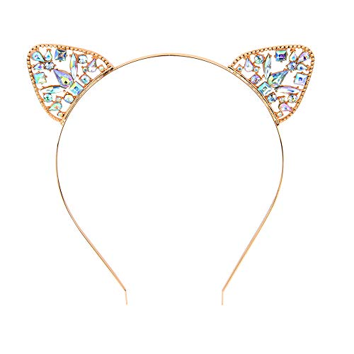 Gold Cat Ears Hair Hoop Headbands Christmas Day, Halloween, Anniversary Happy Birthday Party for Baby Girl Women -