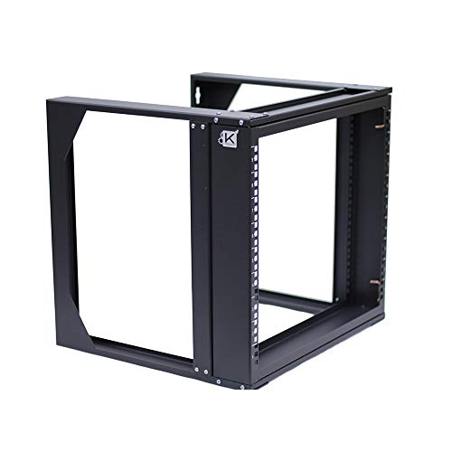 Kenuco 12U Wall Mount Swing Open Frame Steel Network Equipment Rack 17.75 Inch Deep