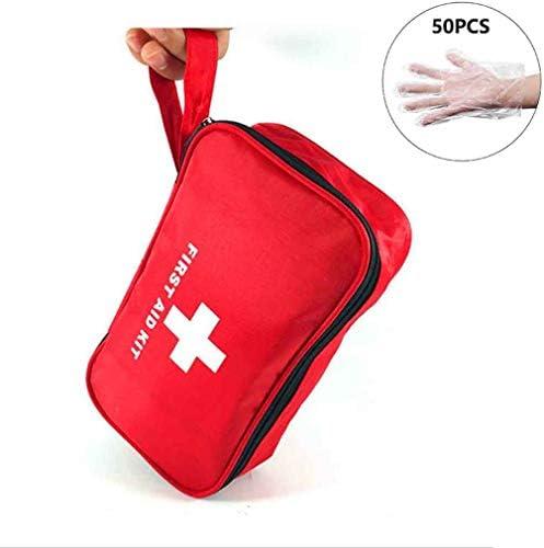 コンパクトな応急処置キットのポーチ応急処置キット緊急サバイバル外傷薬バッグ車、仕事、家、旅行、休日、キャンプのための医療用ユーティリティポーチ, Red