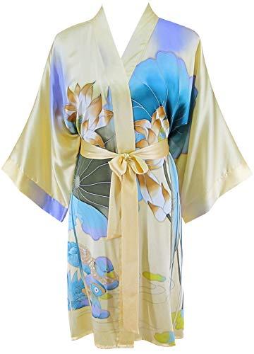 - Ledamon Women's 100% Silk Kimono Short Robe - Classic Handpainted (Light Yellow)
