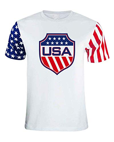 - Mukuwa Sport USA T-Shirt | Adult Unisex fit Soccer T-Shirt White/Star Jersey (White/Star, Large)