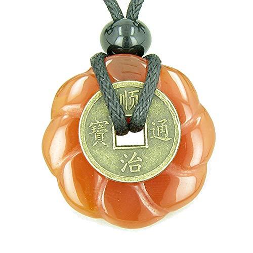 Antique Lucky Coin Celtic Lotus Flower Amulet Carnelian 30mm Donut Pendant Necklace