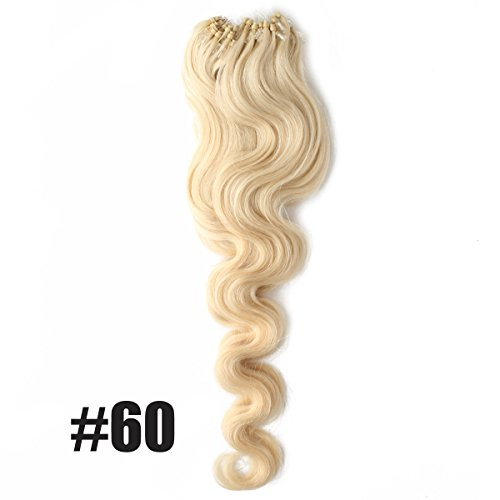 """Yewig 20"""" #60 Loop Micro Ring Bead Tipped Body Wave Curly Remy Human Hair Extensions 100s 50g"""