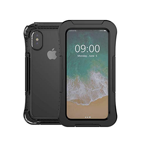 Gorilla Gadgets Waterproof Heavy Duty Case Compatible with iPhone X/XS, 3 Latches with Built-in Silicone Membrane Screen, Full-Body Shock Absorption Dustproof Case - Black