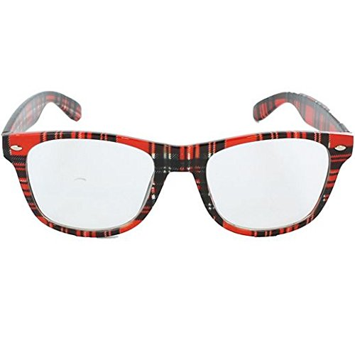 (Party Stained Halloween Red Plaid School Nerd Glasses )