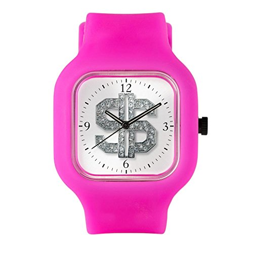 Bright Pink Fashion Sport Watch Bling Dollar Sign