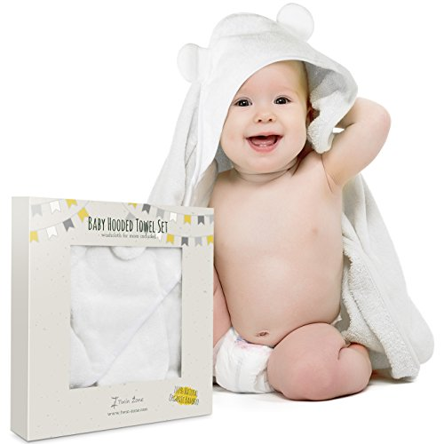 Bath Bucket Gift Set Frog (Extra Soft Baby Hooded Towel Set with Washcloth - Organic Bamboo Fiber for Sensitive Skin - Unisex Baby Bath Towel with Bear Ears for Newborn, Infant, Toddler - Keeps Baby Dry & Warm)