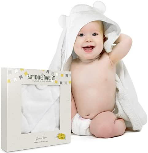 Extra Soft Baby Hooded Towel Set with Washcloth - Organic Bamboo Fiber for Sensitive Skin - Unisex Baby Bath Towel with Bear Ears for Newborn, Infant, Toddler - Keeps Baby Dry & Warm