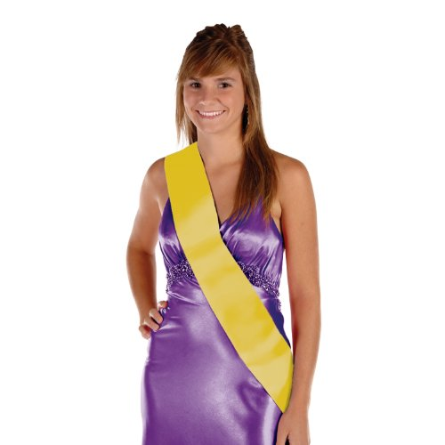 Satin Sash (yellow) Party Accessory  (1 count) - Sash Colored