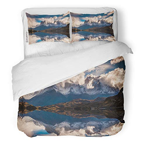 Semtomn Decor Duvet Cover Set Twin Size Sunrise in Torres Del Paine National Park Lake Pehoe and Cuernos Mountains Patagonia 3 Piece Brushed Microfiber Fabric Print Bedding Set Cover -
