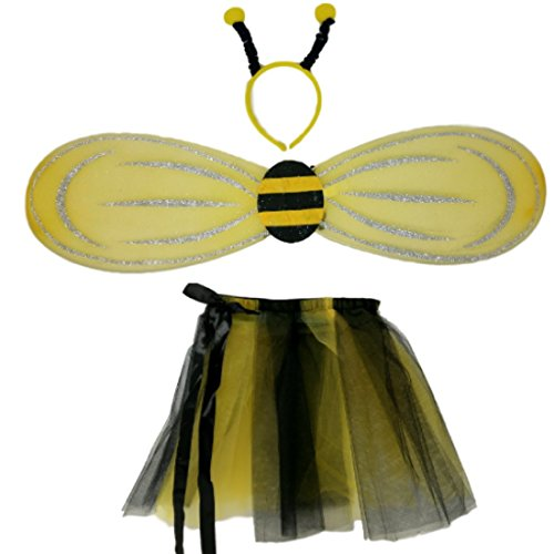 Bumble Bee Halloween Costume with Tutu, Wings, and Bobble Headband