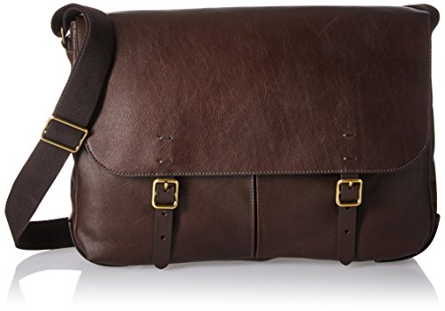 Fossil Men's Haskell Messenger, Buckner Leather Messenger-Dark Brown by Fossil