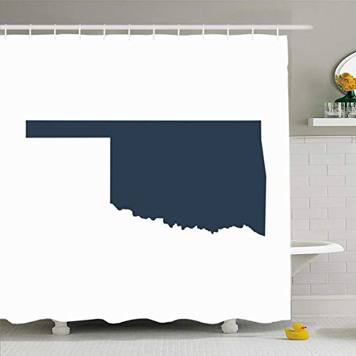 Ahawoso Shower Curtain 60x72 Inches Outline Gray Shape Map Us State Oklahoma Abstract America American Area Beam Waterproof Polyester Fabric Bathroom Curtains Set with Hooks