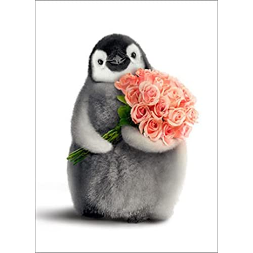 Penguin With Flower Bouquet Funny Valentine's Day Card Sales