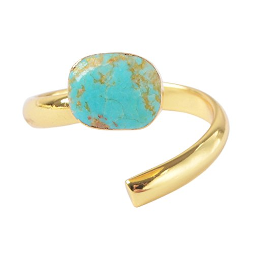 (ZENGORI 1 Pcs Pretty Gold Plated Freeform Genuine Natural Turquoise Wrap Ring G1490-1)