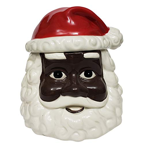 Hand Painted African American Santa Claus Christmas Cookie Jar (Ceramic) ()
