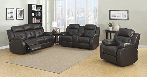 Christies Home Living Troy Room Set in Espresso, with 5 Power Recliners, Sofa Loveseat, 3 Piece