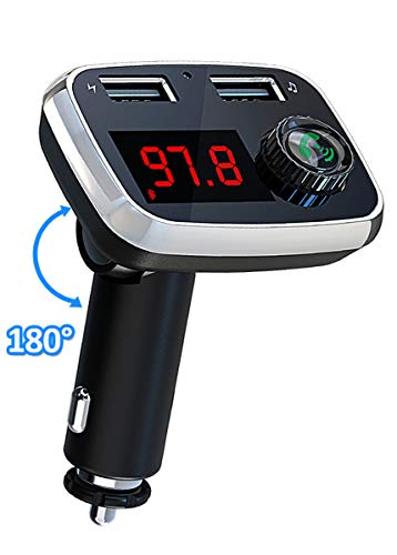 Bluetooth FM Transmitter, Vproof [180° Rotation] Wireless in-Car Radio Adapter Car Kit with Dual USB Ports, Support TF Card/USB Drive, Handsfree Calling for iPhone, Samsung, Tablet, etc(Black) by Vproof