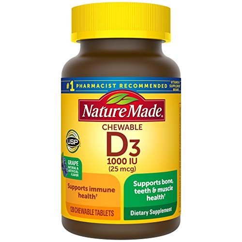 Vitamin D3, 120 Chewable Tablets, Vitamin D 1000 IU (25 mcg) Helps Support Immune Health, Strong Bones and Teeth…