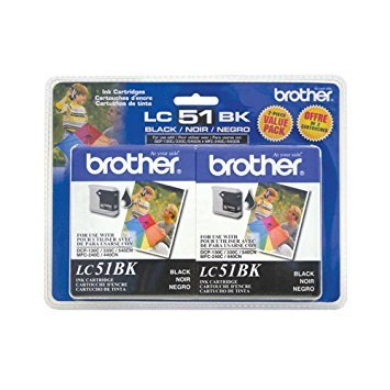 Brother LC51-2PKS Black Ink Cartridge Twin Pack Standard Yield (2x 500 - Ink Lc51 Black