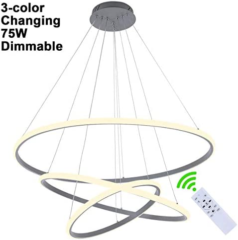 Modern LED Pendant Light for Living Room Creative Hanging Light Fixture for Foyer Hallway 3-Ring Acrylic Shape Dimmable 3-Color Changeable 3-Ring Contemporary Chandelier with Remote,75W