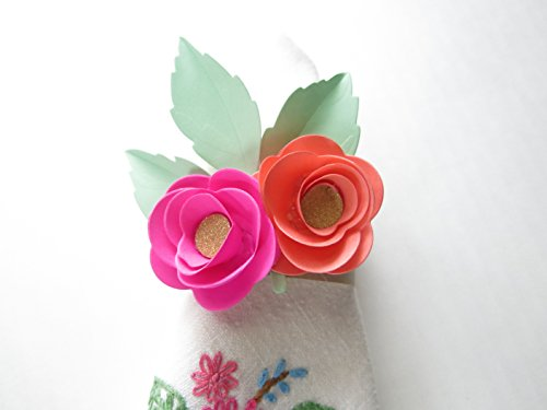 10 Paper Flower Napkin Rings, Coral and Fuchsia Mini Peony Cloth Napkin Holder for Place Settings and Formal Dinner Seating Arrangements -