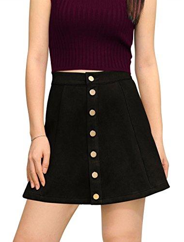 [Allegra K Woman Button Closure Front Mid Rise Mini A-Line Skirt XS Black] (Black Halloween Skirt)
