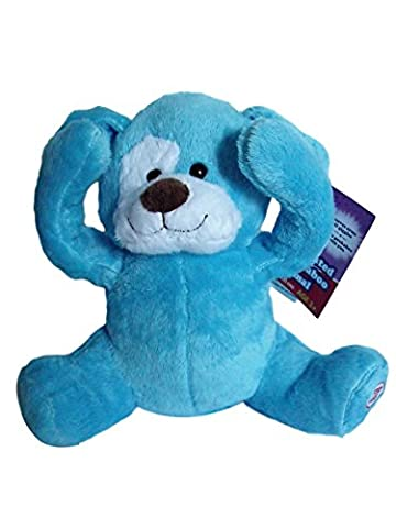Peek-a-boo plush animated animal Blue Dog plays peekaboo and talks. - Blue Puppy Plush