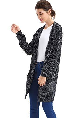 BodiLove Women's Oversize Slouch Chunky Cable Knit Cardigan Navy M(89-1619) -