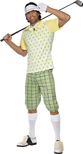 Golfing Gone Costume (Smiffy's Men's Gone Golfing Costume, Visor, Shorts, Top, Bow Tie and Glove, Icons and Idols, Serious Fun, Size M,)