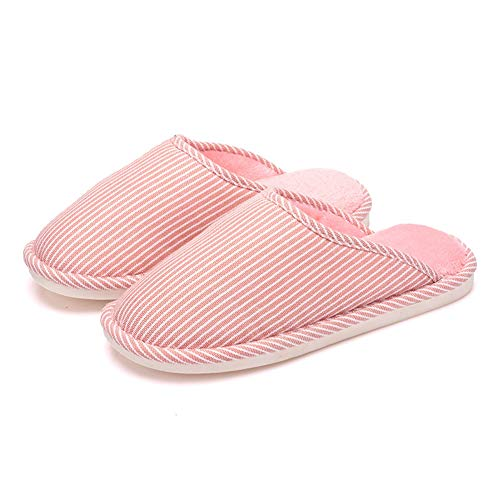 Bottom T Women Indoor House Striped On Slip Cotton Pink Slipper Home JULY Shoes Warm Soft for Slippers Bedroom xqICPq1nr