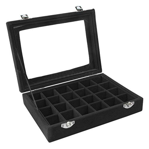 MOVEmen Jewelry Ring Velvet Glass Display Organizer Box Tray Holder Earring Storage Case Cosmetic Box Decorative Mirror Makeup Mirror Button Box Jewelry Box (Black)