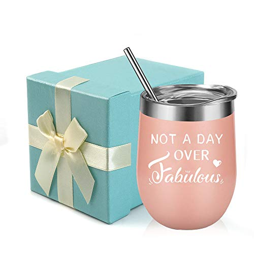 Not A Day Over Fabulous-Funny Birthday,Anniversary Gift Ideas for Women,Best Friends,Mom,Wife,Her,Coworkers Sister- EDEESKY 12oz Stemless Insulated Wine Tumbler with Gift Lid (Best Friend Anniversary Gift Ideas)