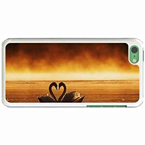 Custom Fashion Design Apple iPhone 5C Back Cover Case Personalized Customized Diy Gifts In a golden pond White