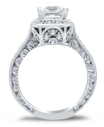 amazoncom solid 14k white gold princess cut solitaire with round side stones highest quality cz cubic zirconia engagement ring 20ct - White Gold Cubic Zirconia Wedding Rings