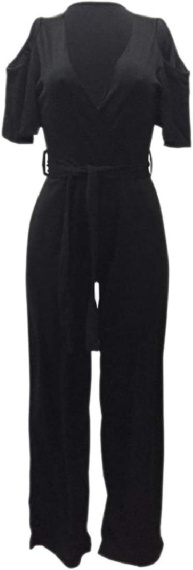 pujingge Womens Belt Accept Waist Cold Shoulder V-Neck Long Jumpsuits Rompers