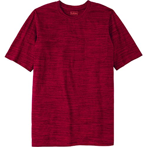 Rich Crewneck - Boulder Creek Men's Big & Tall Heavyweight Longer-Length Pocket Crewneck T-Shirt, Rich Burgundy Marled Tall-2XL