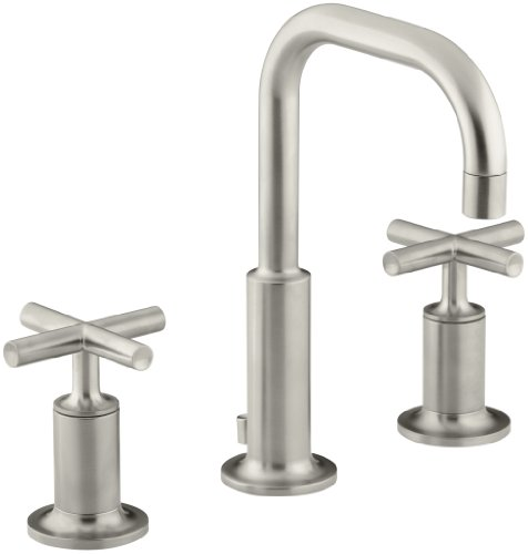KOHLER K-14406-3-BN Purist Widespread Lavatory Faucet with Low Gooseneck and Low Cross Handles, Vibrant Brushed Nickel