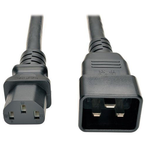TRIPP LITE P032-003 Heavy Duty Power Cord PDU 15Amp 12AWG IEC 320 C13 C20 3', Black