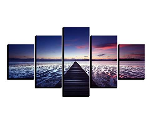 Cuadro personalizado de lienzo estirado en marco de madera 5 piezas - Cielo paisaje Planet Pictures Pintura Impreso en...