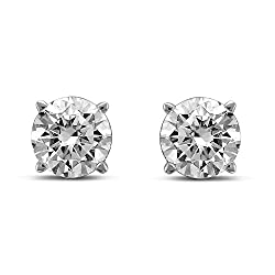 Gold Round Diamond Stud Earrings